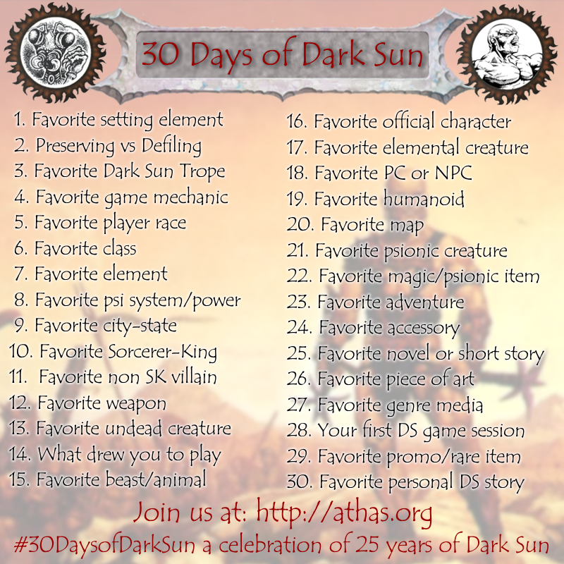 30_days_of_dark_sun_list_revised